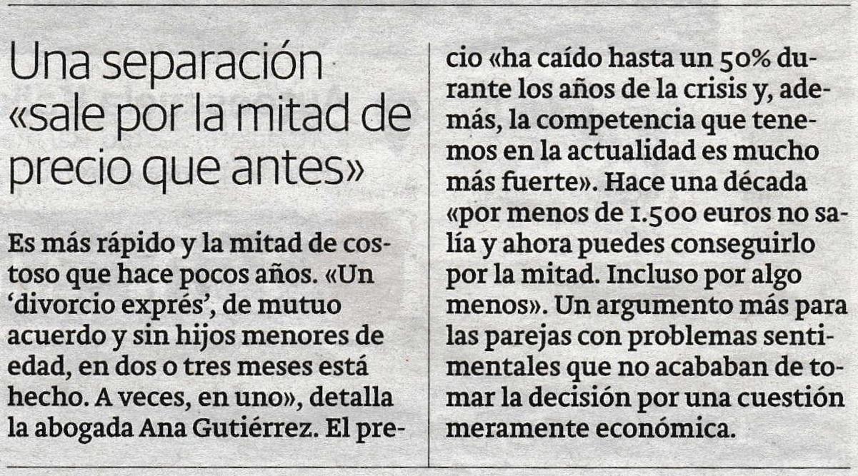 """""""Una separación sale por la mitad de precio que antes"""" (El Correo, 13 de Marzo de 2017)"""